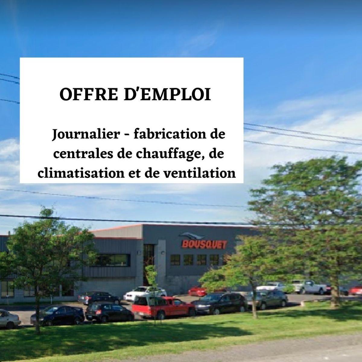 Journalier – Fabrication de centrales de chauffage, de climatisation et de ventilation